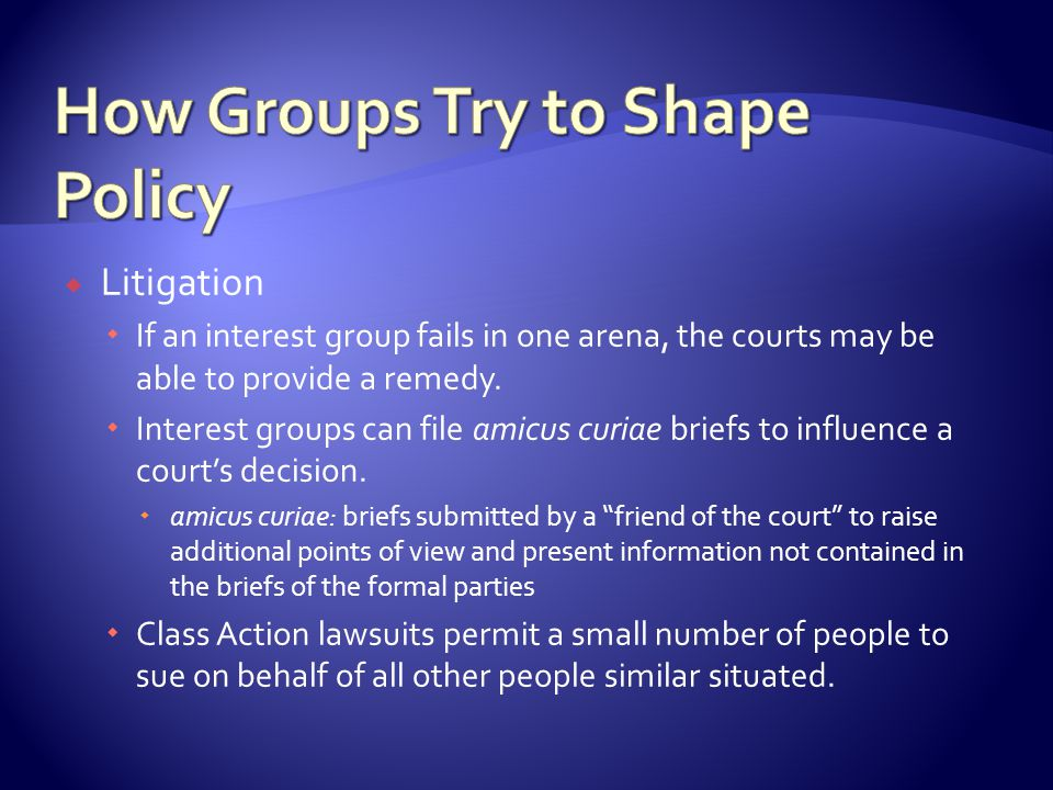  Litigation  If an interest group fails in one arena, the courts may be able to provide a remedy.