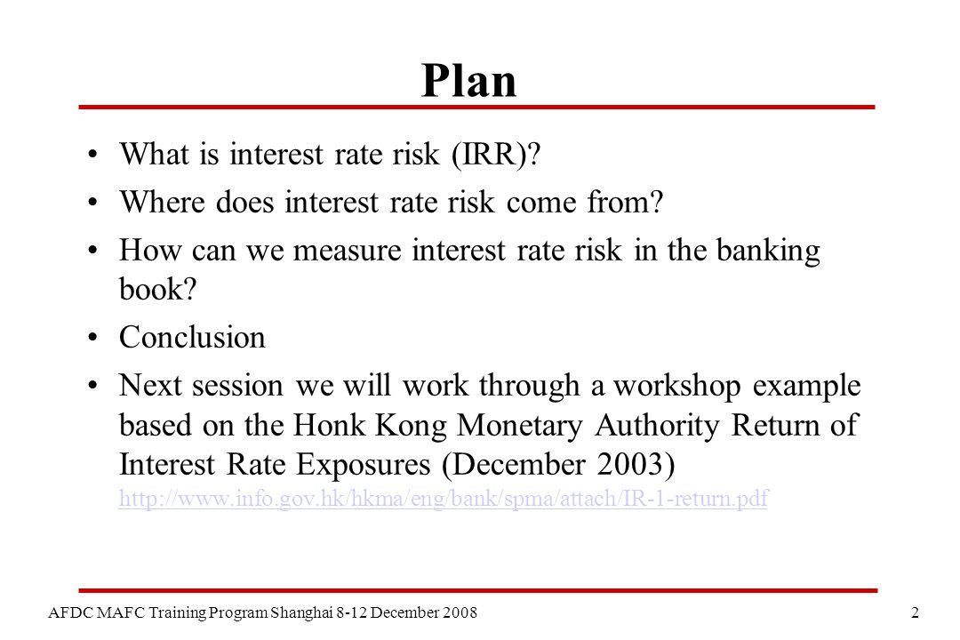 3 AFDC MAFC Training Program Shanghai 8-12 December 2008 What is Interest Rate Risk.