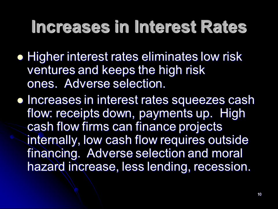 10 Increases in Interest Rates Higher interest rates eliminates low risk ventures and keeps the high risk ones.