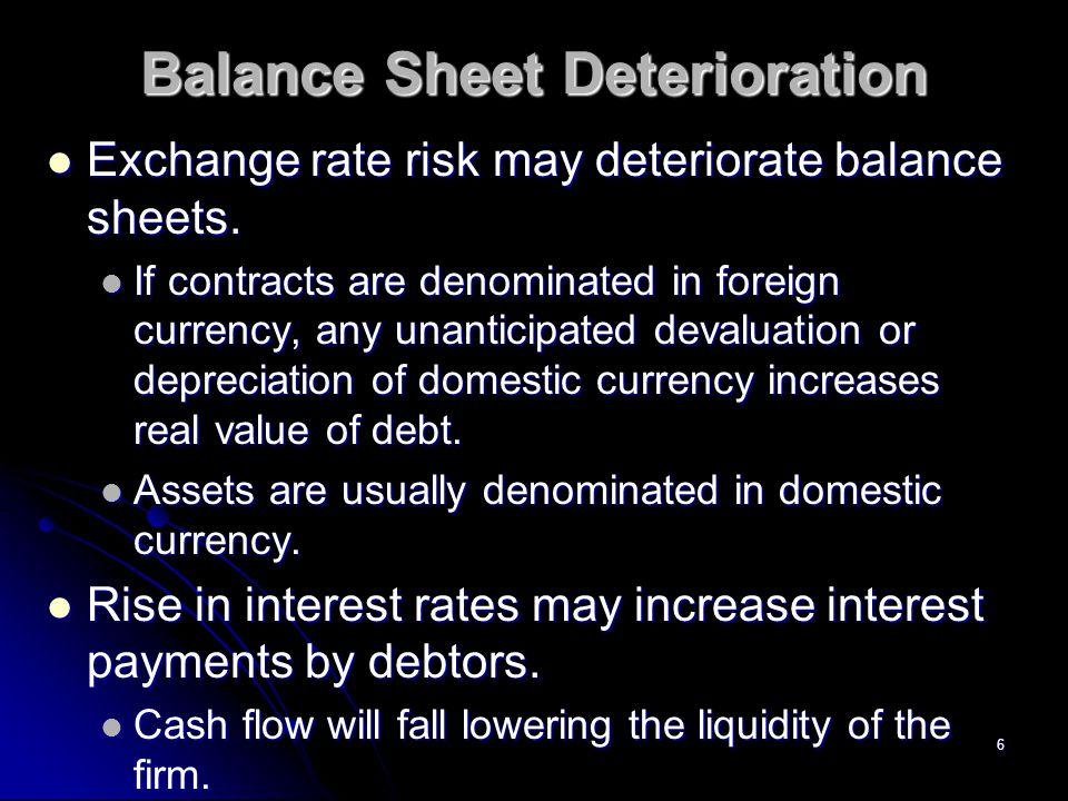 6 Balance Sheet Deterioration Exchange rate risk may deteriorate balance sheets.