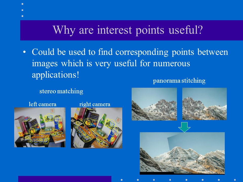 Why are interest points useful? Could be used to find corresponding points between images which is very useful for numerous applications! stereo match