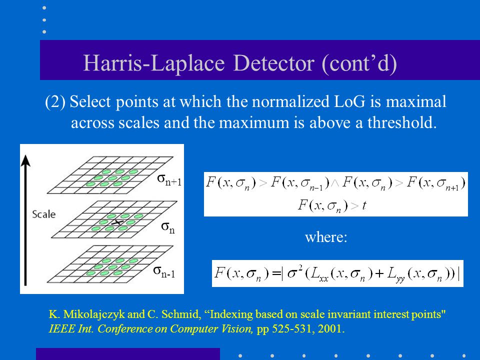 Harris-Laplace Detector (cont'd) (2) Select points at which the normalized LoG is maximal across scales and the maximum is above a threshold. K. Mikol