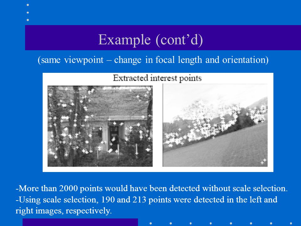 Example (cont'd) -More than 2000 points would have been detected without scale selection. -Using scale selection, 190 and 213 points were detected in