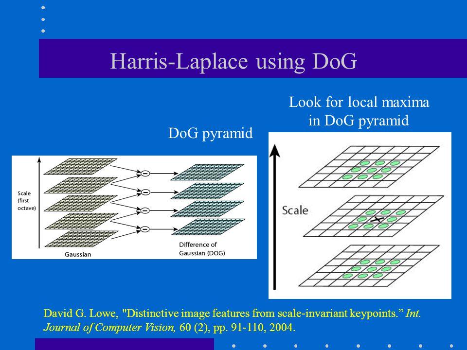 Harris-Laplace using DoG Look for local maxima in DoG pyramid DoG pyramid David G. Lowe,