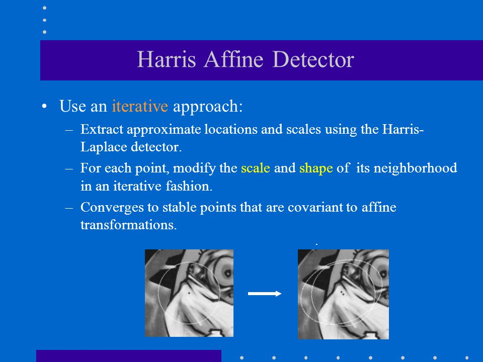 Harris Affine Detector Use an iterative approach: –Extract approximate locations and scales using the Harris- Laplace detector. –For each point, modif