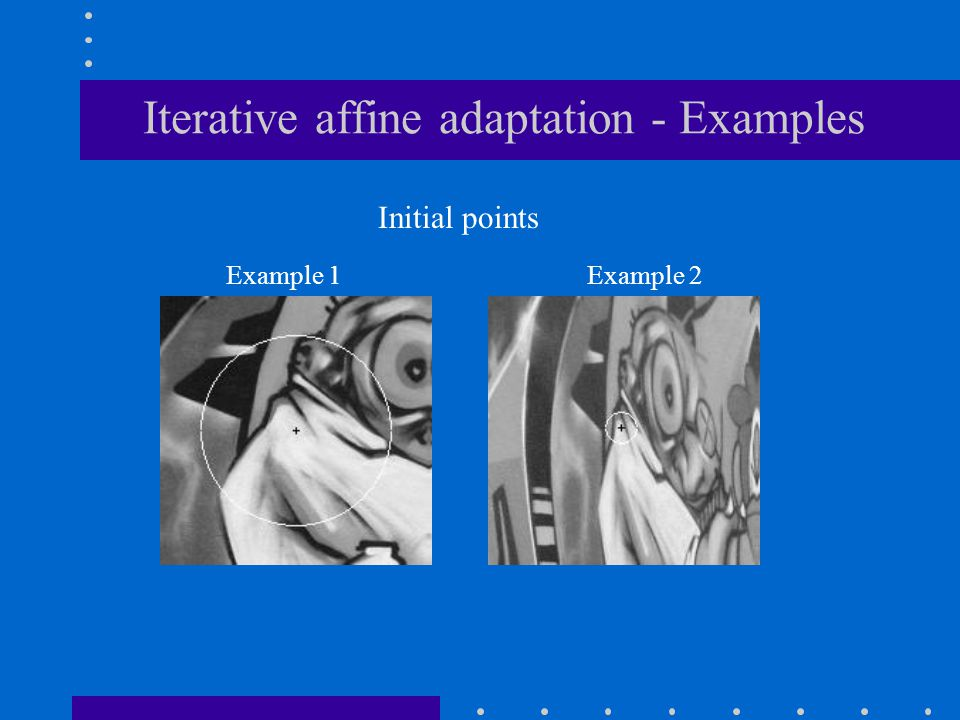 Iterative affine adaptation - Examples Initial points Example 1 Example 2