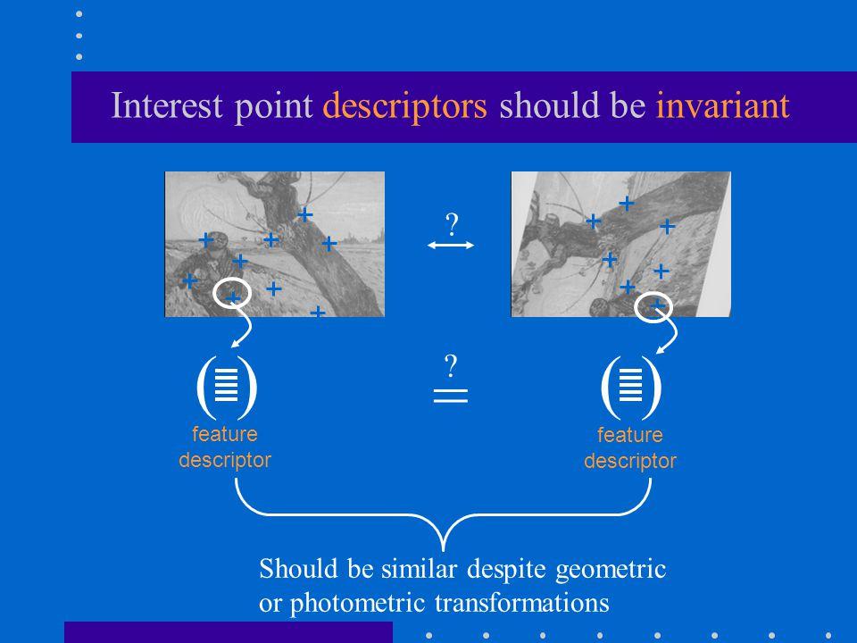 ( ) = ? feature descriptor ? Interest point descriptors should be invariant Should be similar despite geometric or photometric transformations