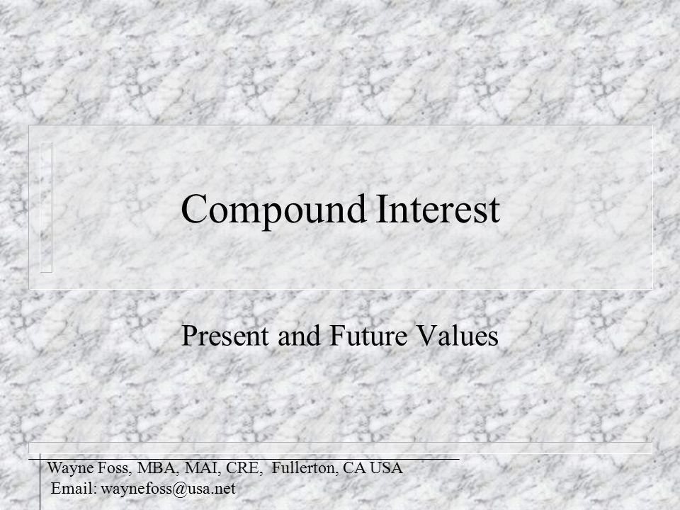 Future Value of One n Also known as the FW of 1 n Formula: S n = (1 + i) n n Where: S n = Future Factor i = effective rate of interest n = number of compounding periods