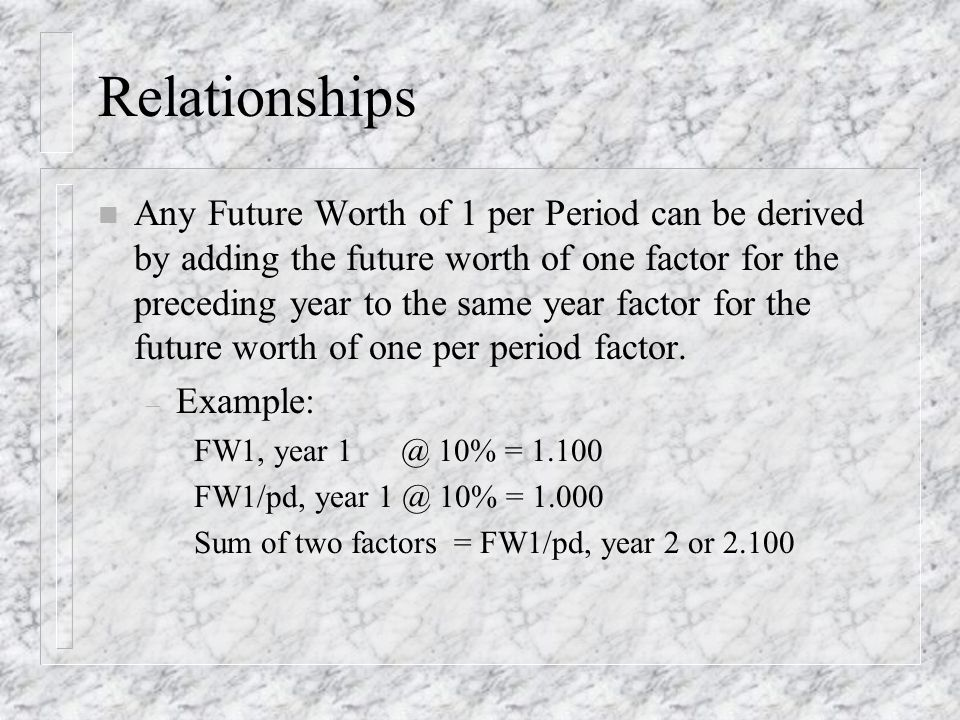 Relationships n Any Future Worth of 1 per Period can be derived by adding the future worth of one factor for the preceding year to the same year factor for the future worth of one per period factor.