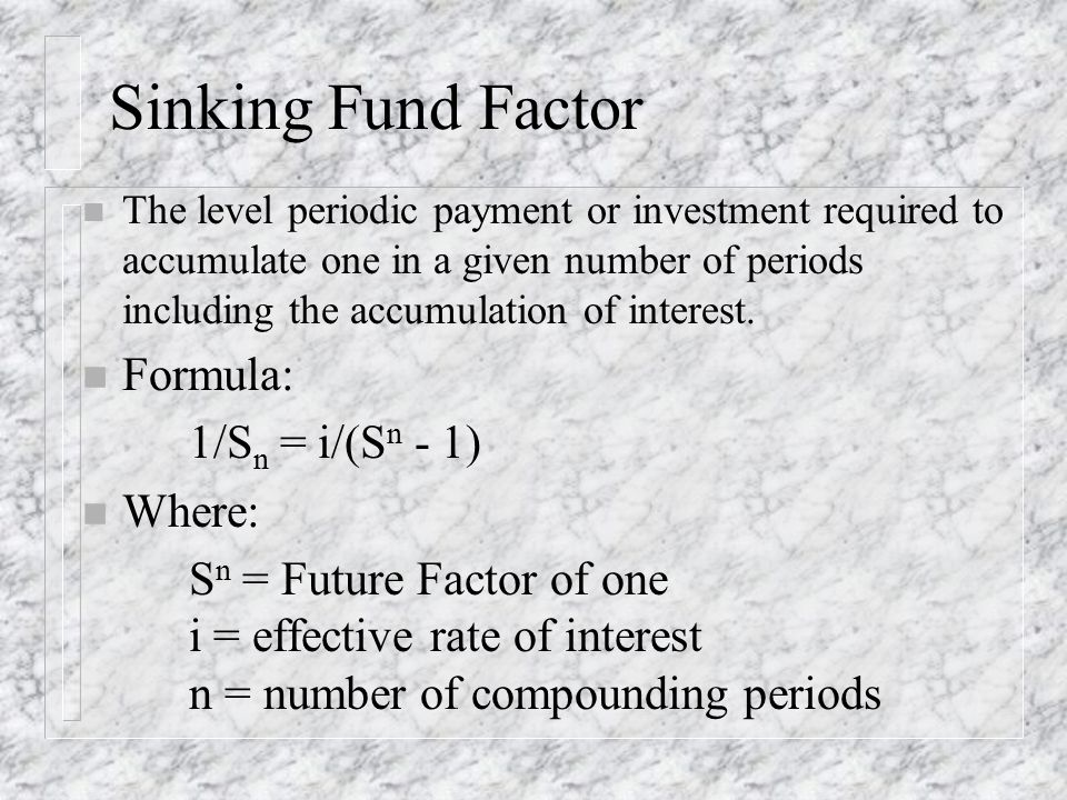 Sinking Fund An Example