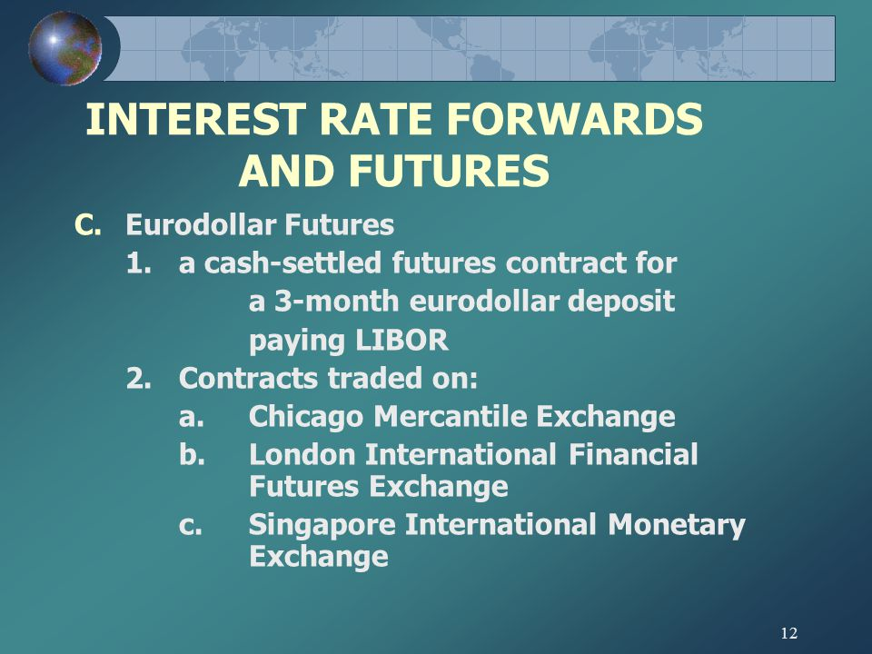12 INTEREST RATE FORWARDS AND FUTURES C.Eurodollar Futures 1.