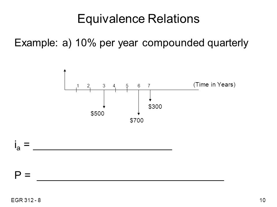 EGR 312 - 810 Equivalence Relations Example: a) 10% per year compounded quarterly (Time in Years) i a = _______________________ P = _______________________________ 1 2 3 4 5 6 7 $500 $700 $300