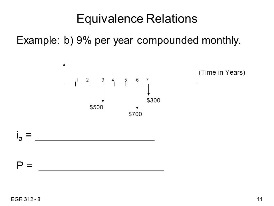 EGR 312 - 811 Equivalence Relations Example: b) 9% per year compounded monthly.