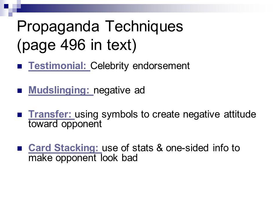 Propaganda Techniques (page 496 in text) Testimonial: Celebrity endorsement Testimonial: Mudslinging: negative ad Mudslinging: Transfer: using symbols