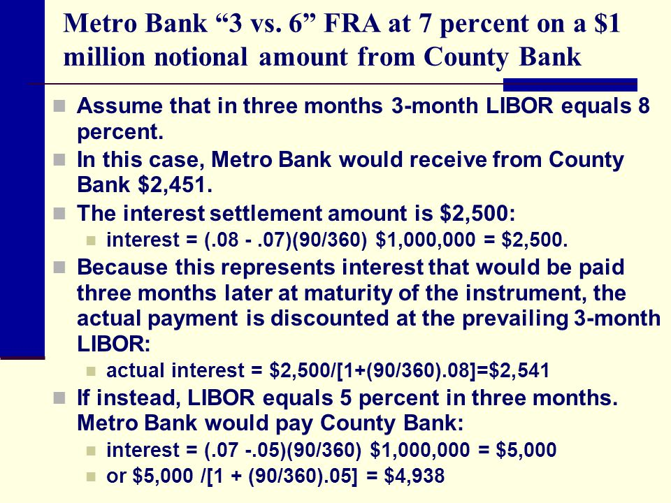 "Metro Bank ""3 vs. 6"" FRA at 7 percent on a $1 million notional amount from County Bank Assume that in three months 3-month LIBOR equals 8 percent. In"