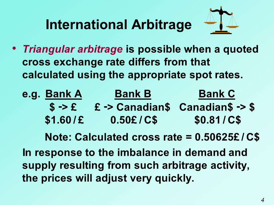 5 International Arbitrage Covered interest arbitrage tends to force a relationship between the interest rates of two countries and their forward exchange rate.