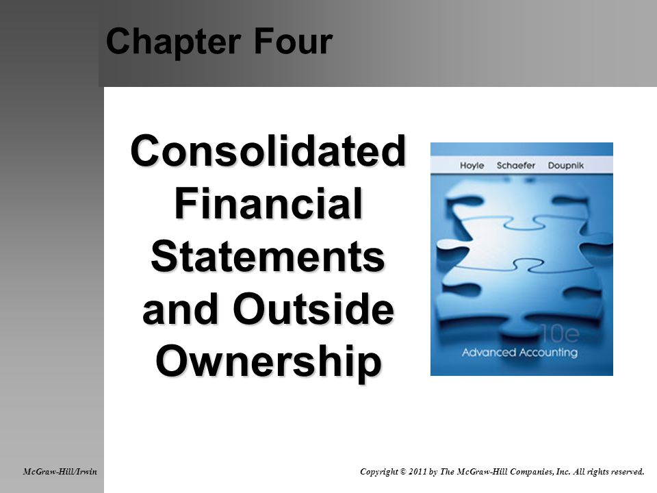 Chapter Four Consolidated Financial Statements and Outside Ownership McGraw-Hill/Irwin Copyright © 2011 by The McGraw-Hill Companies, Inc.