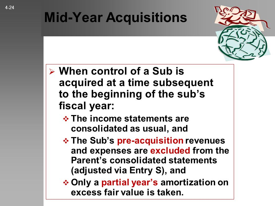 Mid-Year Acquisitions  When control of a Sub is acquired at a time subsequent to the beginning of the sub's fiscal year:  The income statements are consolidated as usual, and  The Sub's pre-acquisition revenues and expenses are excluded from the Parent's consolidated statements (adjusted via Entry S), and  Only a partial year's amortization on excess fair value is taken.