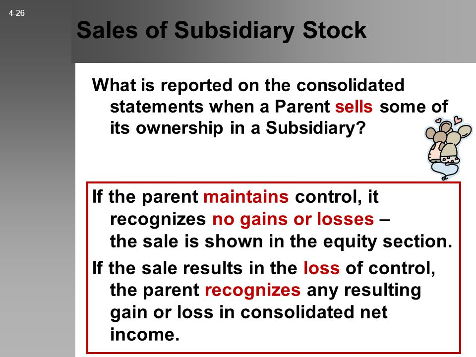 Sales of Subsidiary Stock If the parent maintains control, it recognizes no gains or losses – the sale is shown in the equity section.