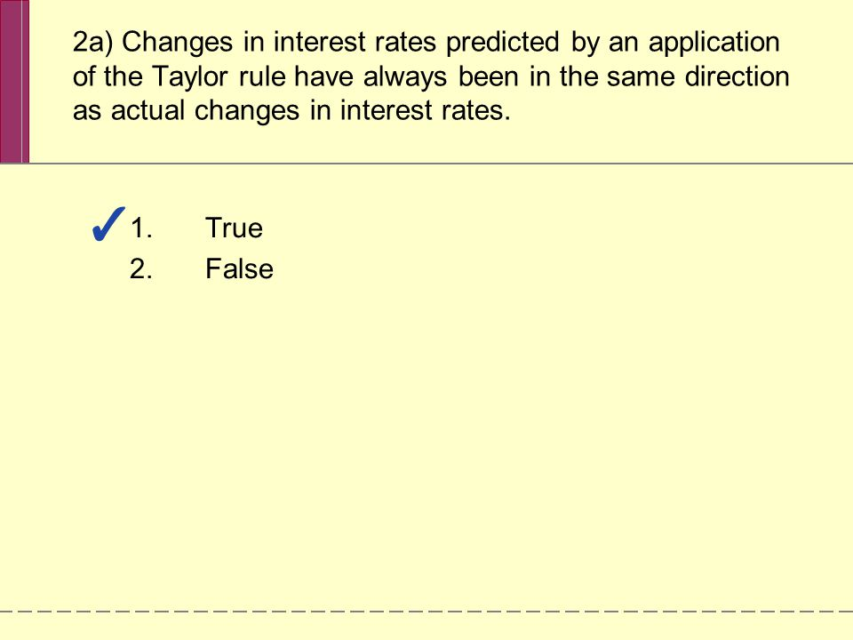 2a) Changes in interest rates predicted by an application of the Taylor rule have always been in the same direction as actual changes in interest rates.