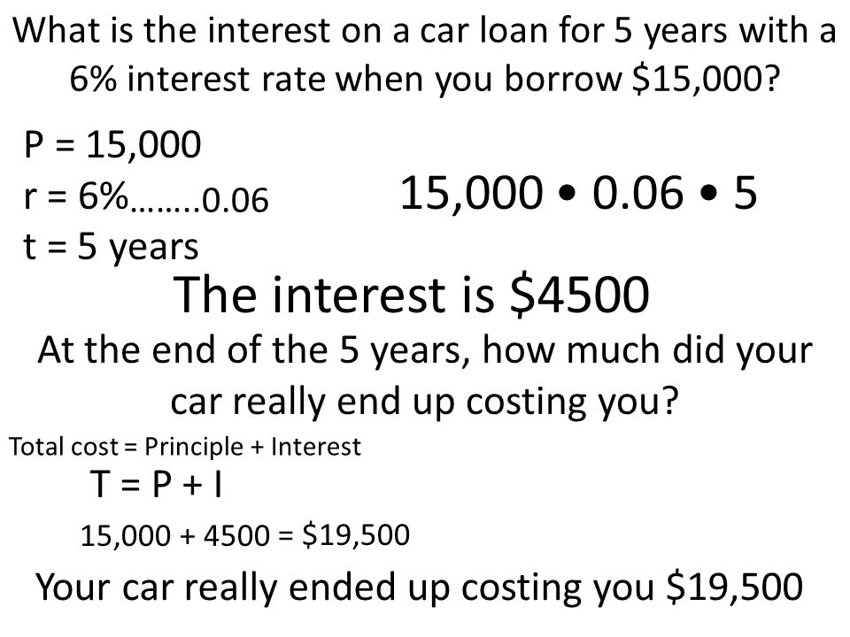 What is the interest on a car loan for 5 years with a 6% interest rate when you borrow $15,000? P = 15,000 r = 6% t = 5 years ……..0.06 15,000 0.06 5 T