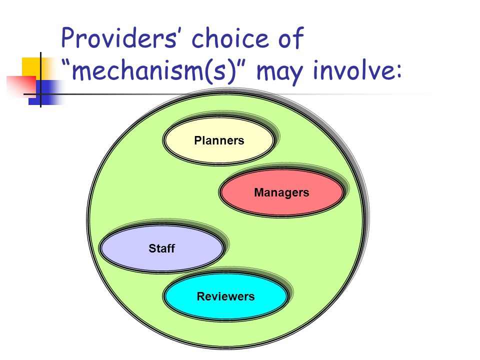 Providers' choice of mechanism(s) may involve: Planners Managers Staff Reviewers