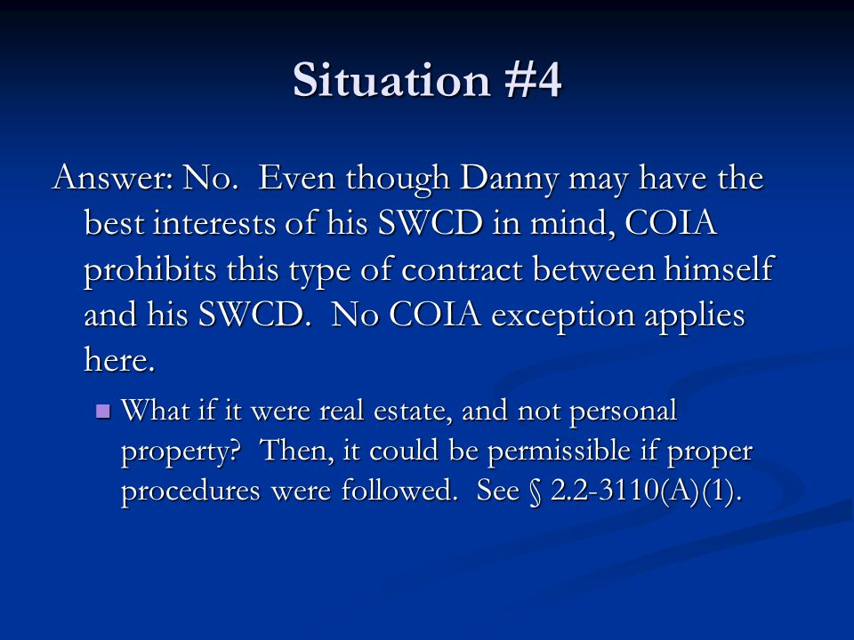 Situation #4 Answer: No.