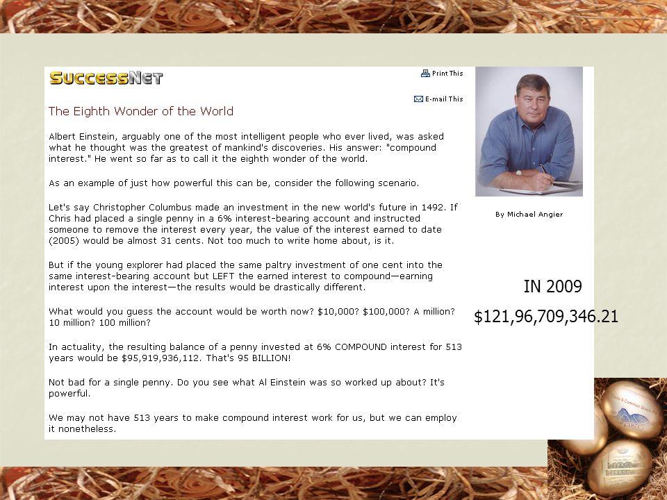 IN 2009 $121,96,709,346.21