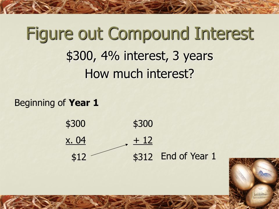 Figure out Compound Interest $300, 4% interest, 3 years How much interest.