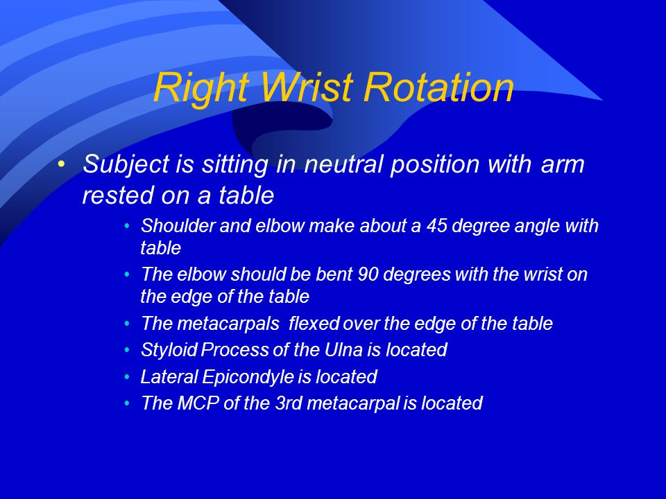 Right Wrist Rotation Subject is sitting in neutral position with arm rested on a table Shoulder and elbow make about a 45 degree angle with table The