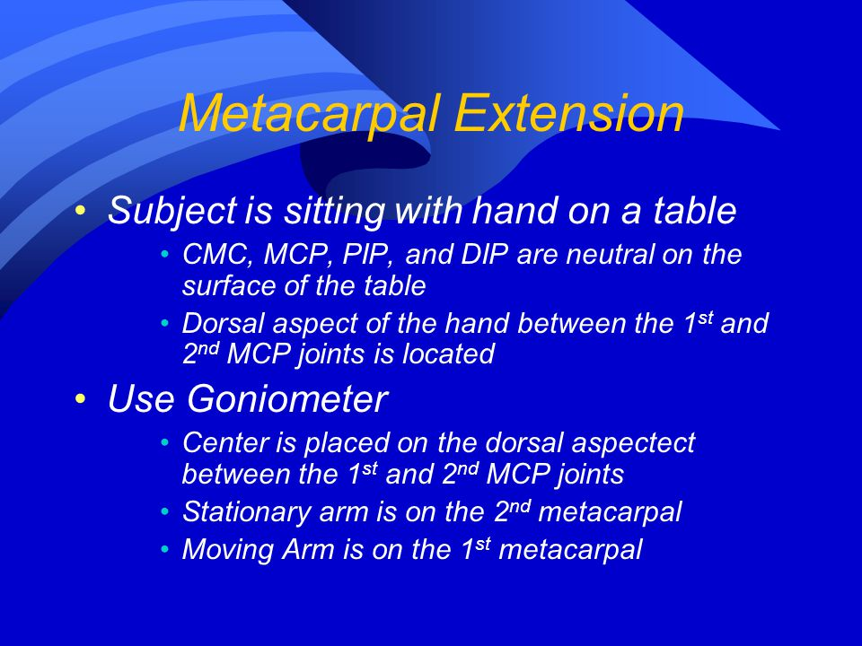 Metacarpal Extension Subject is sitting with hand on a table CMC, MCP, PIP, and DIP are neutral on the surface of the table Dorsal aspect of the hand