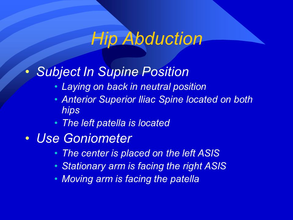 Hip Abduction Subject In Supine Position Laying on back in neutral position Anterior Superior Iliac Spine located on both hips The left patella is loc