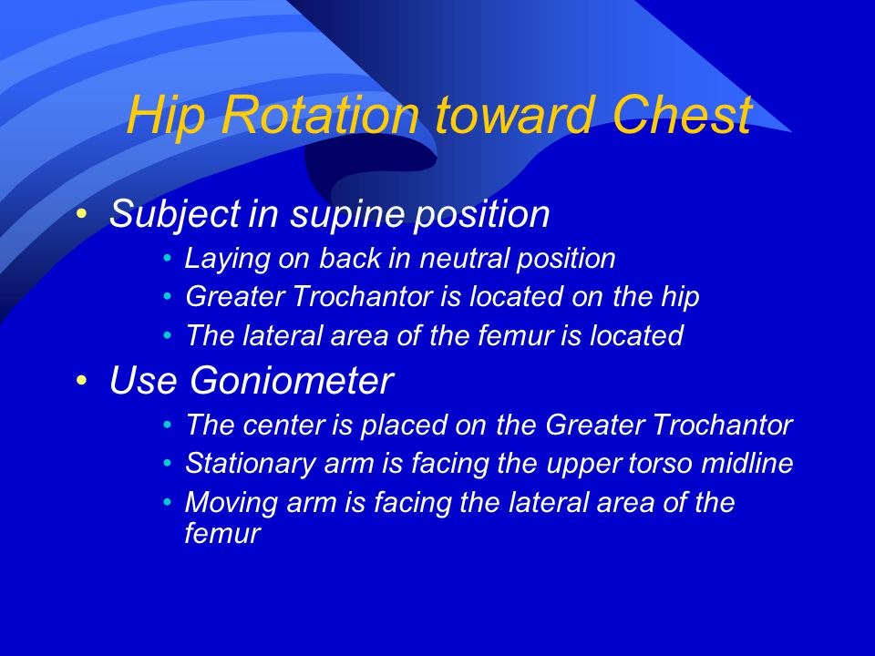 Subject in supine position Laying on back in neutral position Greater Trochantor is located on the hip The lateral area of the femur is located Use Go