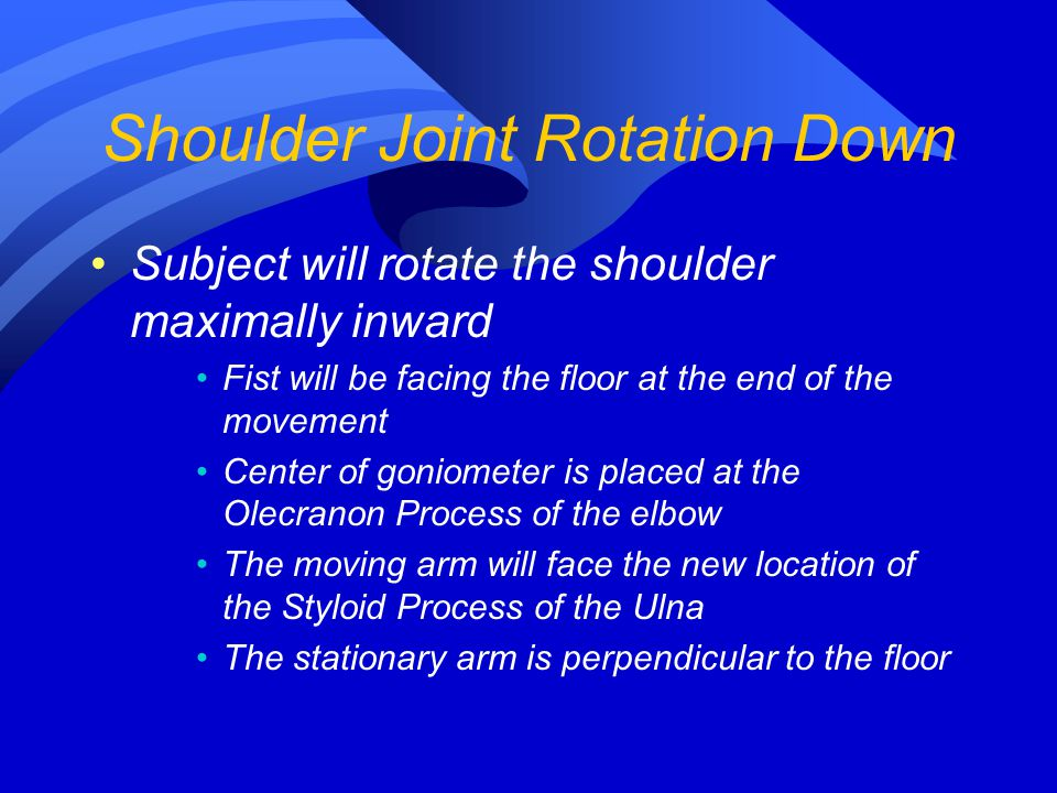 Subject will rotate the shoulder maximally inward Fist will be facing the floor at the end of the movement Center of goniometer is placed at the Olecr