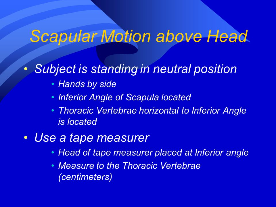 Subject is standing in neutral position Hands by side Inferior Angle of Scapula located Thoracic Vertebrae horizontal to Inferior Angle is located Use