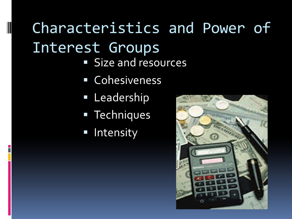 Government Interest Groups  Represent the interests of government employees, as well as elected officials from state and local governments.