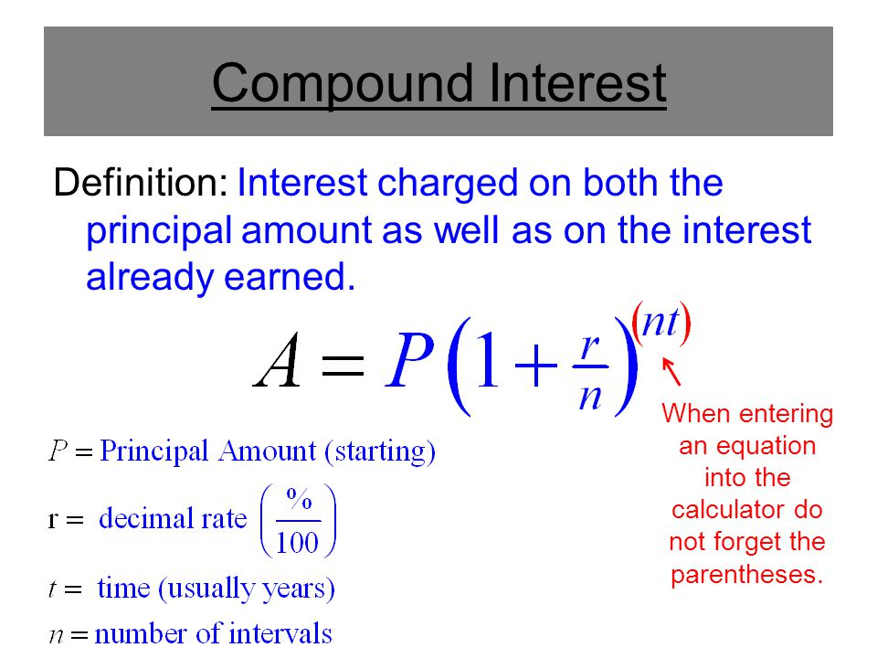 Compound Interest Definition: Interest charged on both the principal amount as well as on the interest already earned. When entering an equation into