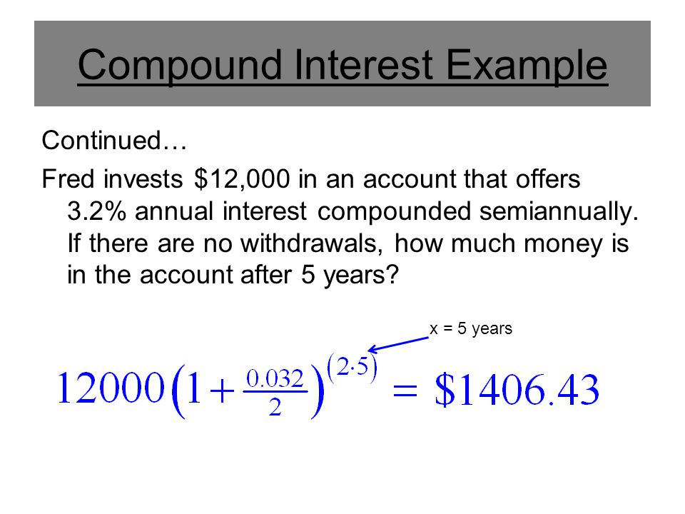 Compound Interest Example Continued… Fred invests $12,000 in an account that offers 3.2% annual interest compounded semiannually. If there are no with