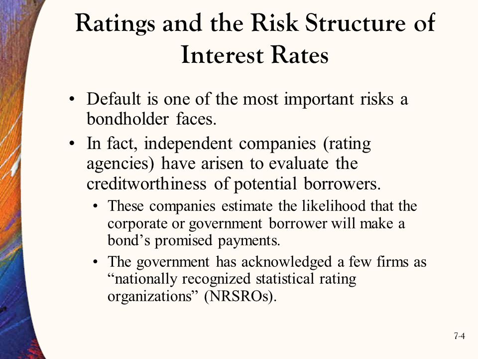 7-5 Bond Ratings The best known bond rating services are Moody's Standard & Poor's They monitor the status of individual bond issuers and assess the likelihood a lender will be repaid by the bond issuer.