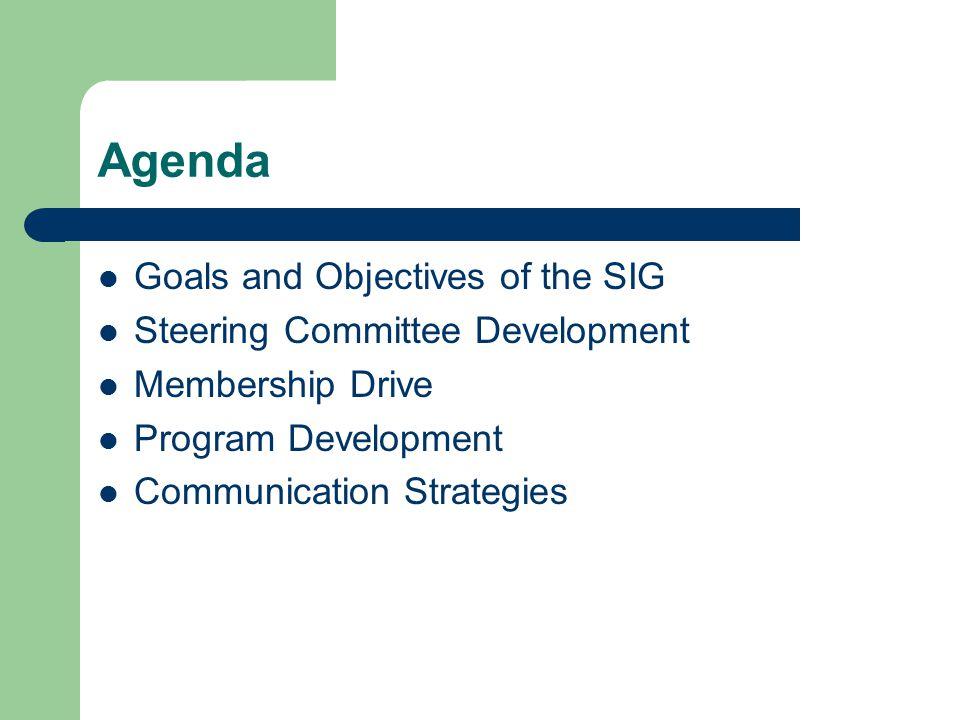 Agenda Goals and Objectives of the SIG Steering Committee Development Membership Drive Program Development Communication Strategies