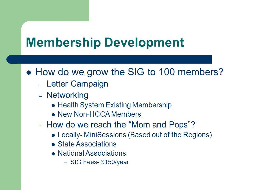 Membership Development How do we grow the SIG to 100 members.