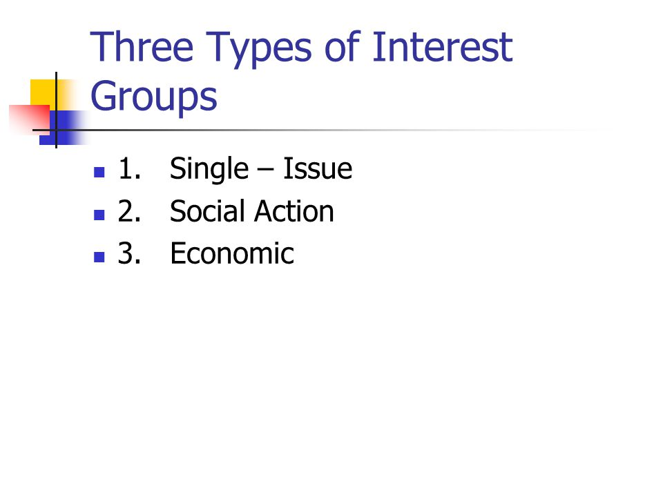 Three Types of Interest Groups 1. Single – Issue 2. Social Action 3. Economic