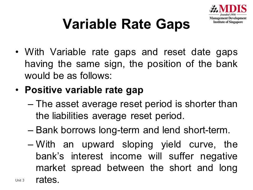 With Variable rate gaps and reset date gaps having the same sign, the position of the bank would be as follows: Positive variable rate gap –The asset