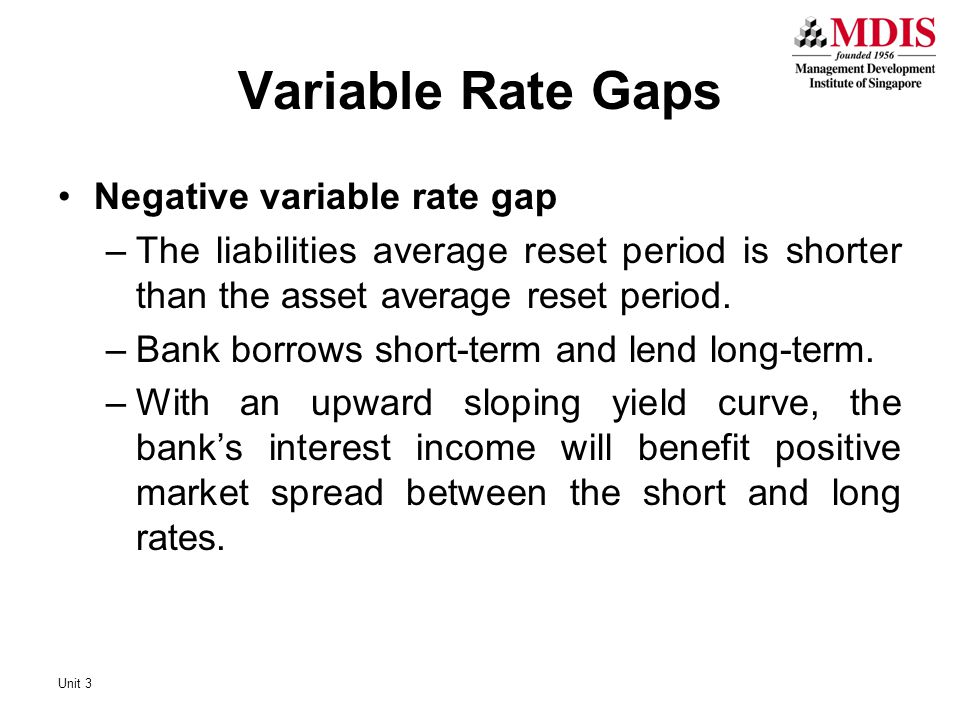 Negative variable rate gap –The liabilities average reset period is shorter than the asset average reset period. –Bank borrows short-term and lend lon