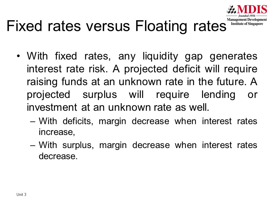 With fixed rates, any liquidity gap generates interest rate risk. A projected deficit will require raising funds at an unknown rate in the future. A p