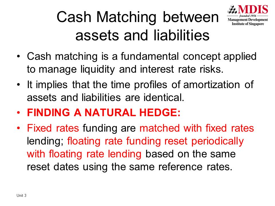 Cash matching is a fundamental concept applied to manage liquidity and interest rate risks. It implies that the time profiles of amortization of asset