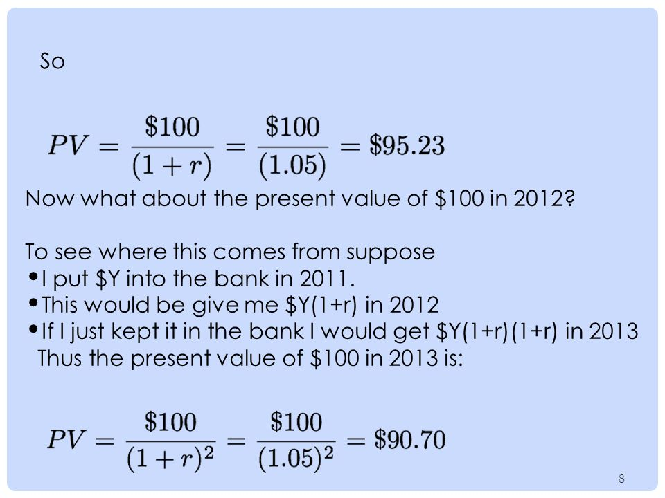 88 So Now what about the present value of $100 in 2012.
