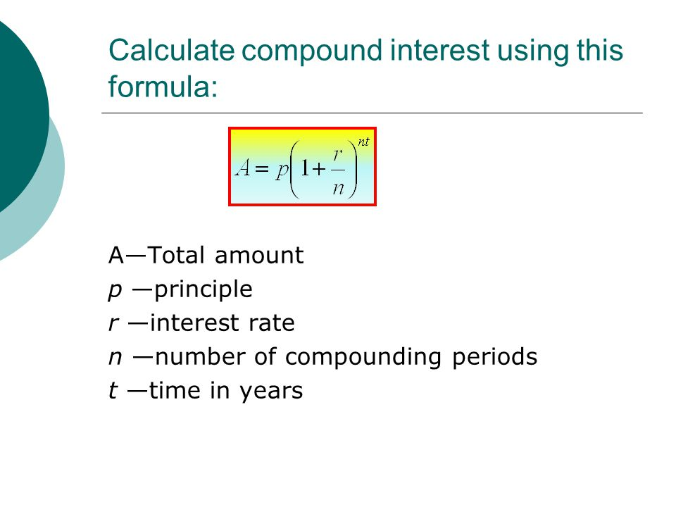 Example: $100 is invested at 10% interest compounded yearly for 6 years 177.16
