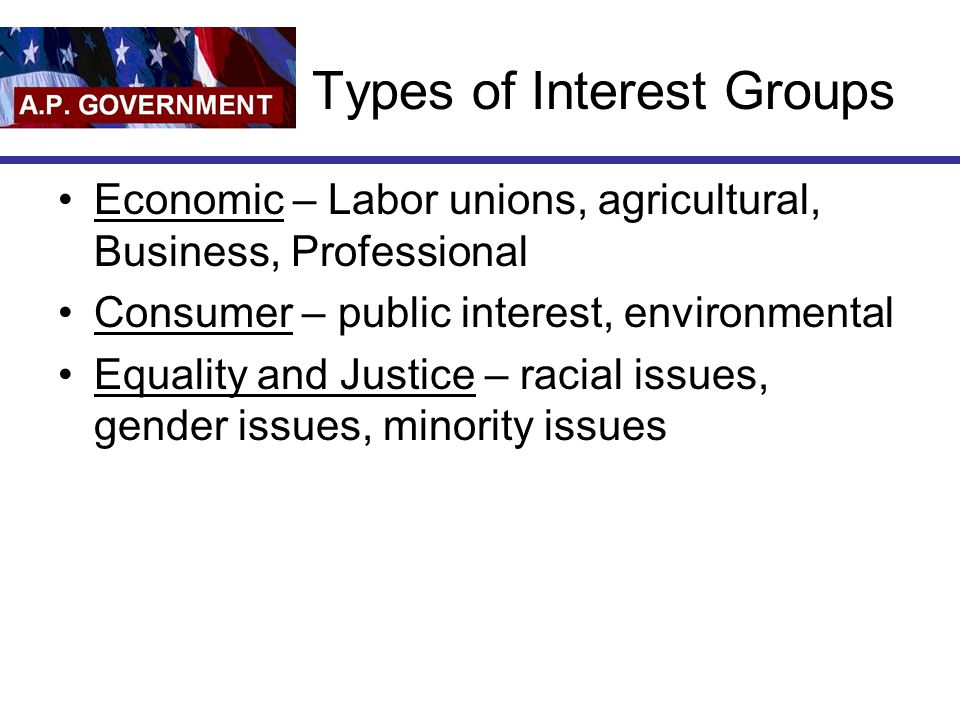 Types of Interest Groups Economic – Labor unions, agricultural, Business, Professional Consumer – public interest, environmental Equality and Justice – racial issues, gender issues, minority issues