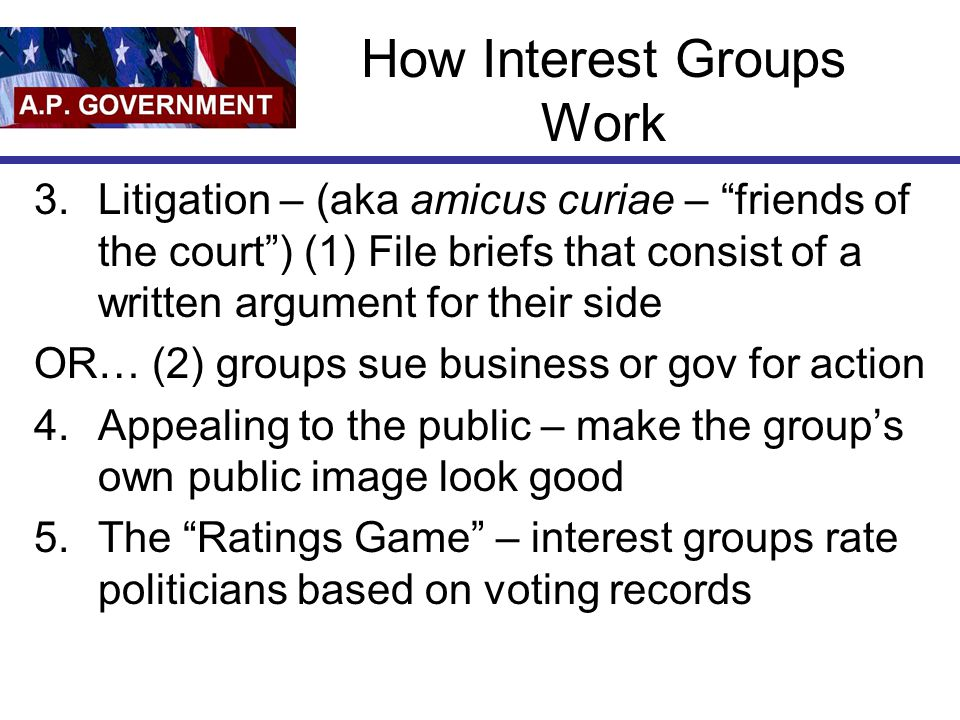 How Interest Groups Work 3.Litigation – (aka amicus curiae – friends of the court ) (1) File briefs that consist of a written argument for their side OR… (2) groups sue business or gov for action 4.Appealing to the public – make the group's own public image look good 5.The Ratings Game – interest groups rate politicians based on voting records